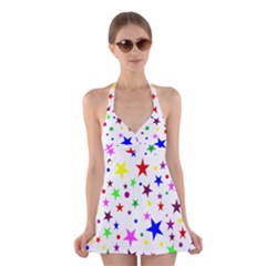 Stars Pattern Background Colorful Red Blue Pink Halter Swimsuit Dress