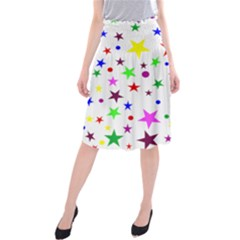 Stars Pattern Background Colorful Red Blue Pink Midi Beach Skirt