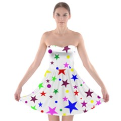Stars Pattern Background Colorful Red Blue Pink Strapless Bra Top Dress