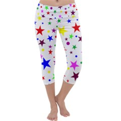 Stars Pattern Background Colorful Red Blue Pink Capri Yoga Leggings