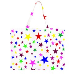 Stars Pattern Background Colorful Red Blue Pink Large Tote Bag