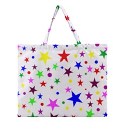 Stars Pattern Background Colorful Red Blue Pink Zipper Large Tote Bag