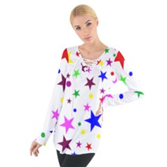 Stars Pattern Background Colorful Red Blue Pink Women s Tie Up Tee