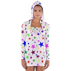 Stars Pattern Background Colorful Red Blue Pink Women s Long Sleeve Hooded T-shirt