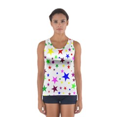 Stars Pattern Background Colorful Red Blue Pink Women s Sport Tank Top
