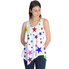 Stars Pattern Background Colorful Red Blue Pink Sleeveless Tunic