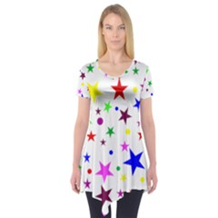 Stars Pattern Background Colorful Red Blue Pink Short Sleeve Tunic