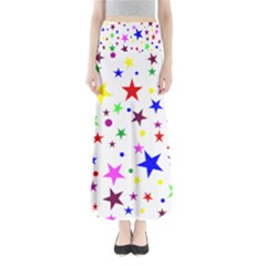 Stars Pattern Background Colorful Red Blue Pink Maxi Skirts