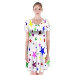 Stars Pattern Background Colorful Red Blue Pink Short Sleeve V Neck Flare Dress