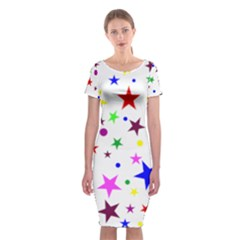 Stars Pattern Background Colorful Red Blue Pink Classic Short Sleeve Midi Dress
