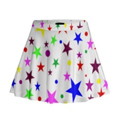 Stars Pattern Background Colorful Red Blue Pink Mini Flare Skirt