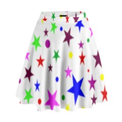Stars Pattern Background Colorful Red Blue Pink High Waist Skirt