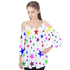 Stars Pattern Background Colorful Red Blue Pink Flutter Tees