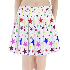 Stars Pattern Background Colorful Red Blue Pink Pleated Mini Skirt