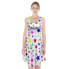 Stars Pattern Background Colorful Red Blue Pink Racerback Midi Dress