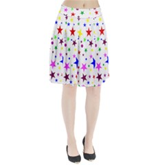 Stars Pattern Background Colorful Red Blue Pink Pleated Skirt
