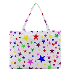 Stars Pattern Background Colorful Red Blue Pink Medium Tote Bag