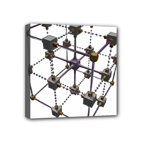 Grid Construction Structure Metal Mini Canvas 4  x 4