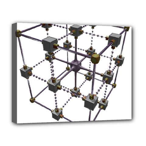 Grid Construction Structure Metal Deluxe Canvas 20  x 16