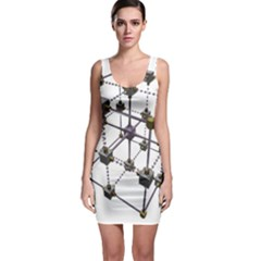 Grid Construction Structure Metal Sleeveless Bodycon Dress