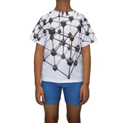 Grid Construction Structure Metal Kids  Short Sleeve Swimwear