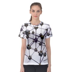 Grid Construction Structure Metal Women s Sport Mesh Tee