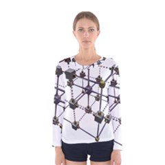 Grid Construction Structure Metal Women s Long Sleeve Tee