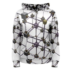 Grid Construction Structure Metal Women s Pullover Hoodie