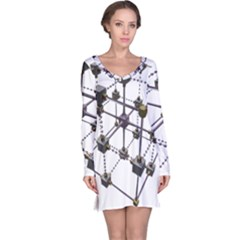 Grid Construction Structure Metal Long Sleeve Nightdress