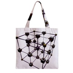 Grid Construction Structure Metal Zipper Grocery Tote Bag