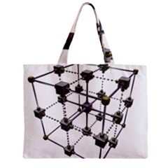 Grid Construction Structure Metal Zipper Mini Tote Bag