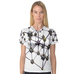 Grid Construction Structure Metal Women s V-Neck Sport Mesh Tee