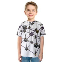 Grid Construction Structure Metal Kids  Sport Mesh Tee