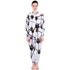 Grid Construction Structure Metal Onepiece Jumpsuit (ladies)