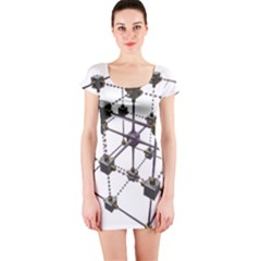 Grid Construction Structure Metal Short Sleeve Bodycon Dress