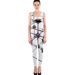 Grid Construction Structure Metal Onepiece Catsuit