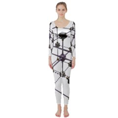 Grid Construction Structure Metal Long Sleeve Catsuit