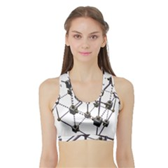 Grid Construction Structure Metal Sports Bra With Border
