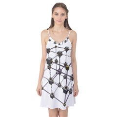 Grid Construction Structure Metal Camis Nightgown