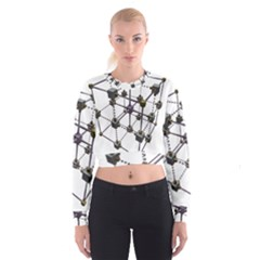 Grid Construction Structure Metal Women s Cropped Sweatshirt