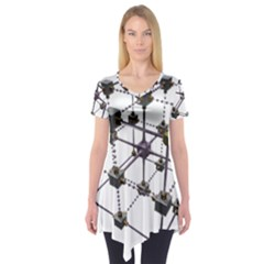 Grid Construction Structure Metal Short Sleeve Tunic