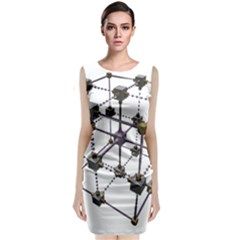 Grid Construction Structure Metal Classic Sleeveless Midi Dress