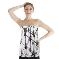 Grid Construction Structure Metal Strapless Top