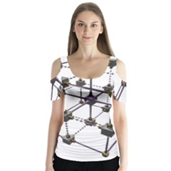 Grid Construction Structure Metal Butterfly Sleeve Cutout Tee