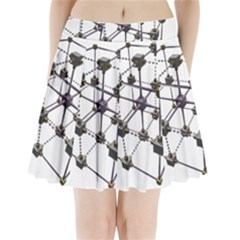 Grid Construction Structure Metal Pleated Mini Skirt