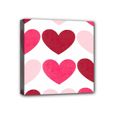 Valentine S Day Hearts Mini Canvas 4  x 4