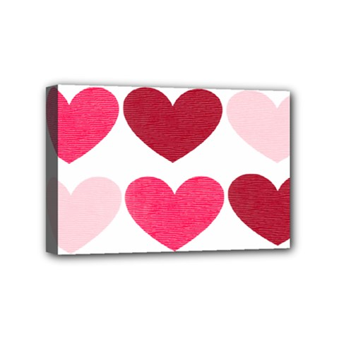 Valentine S Day Hearts Mini Canvas 6  x 4