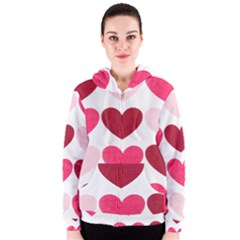 Valentine S Day Hearts Women s Zipper Hoodie