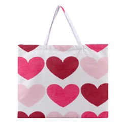 Valentine S Day Hearts Zipper Large Tote Bag