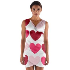 Valentine S Day Hearts Wrap Front Bodycon Dress